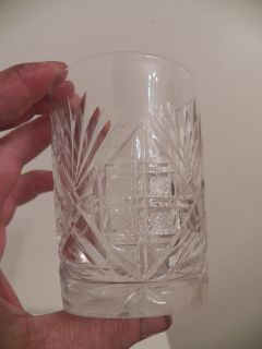 Lot 3 Vintage Clear Cut Glass Water Tumblers Different Designs