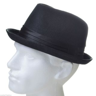 Mentari Hats Mens Pork Pie Hat in Black Festival Summer Cool Club