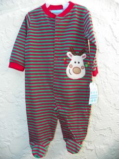 Cute Holiday Boy or Girl One Piece Sleeper with feet 6 9mo by