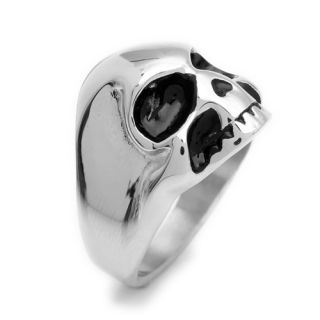 Stainless Steel Evil Skull Black Silver Mens Ring USA Size 8 9 10 11