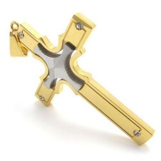 Mens Gold Silver Stainless Steel Cross Pendant Necklace