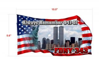911 FDNY 343 Flag Firefighter Decal Sticker Memorial