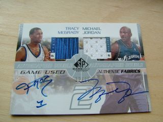 SP Game Used Dual Auto Jersey Michael Jordan Tracy McGrady 15
