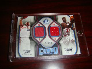 MICHAEL JORDAN LEBRON JAMES JERSEY 50 auto PATCH COMBO SP game used