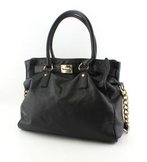MICHAEL KORS BLACK LEATHER HAMILTON TOTE LEATHER BAG GOLD HANDBAG