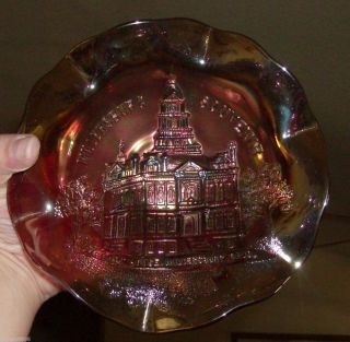 Millersburg Carnival Glass Souvenir Bowl RARE Purple Gorgeous Piece