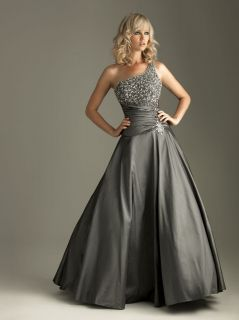 Charcoal Beaded A line Formal/Evening /Ball gown/Prom dress/SZ 6 8 10