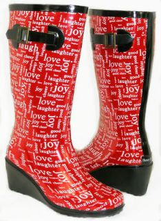 Medium Wedge Flat GALOSHES WELLIES RUBBER RAIN Boot Hunter Style RED 8