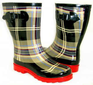 SO CUTE Flat GALOSHES WELLIES RUBBER RAIN Boot Mid Calf Hunter Style