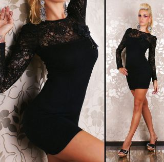Long Sleeve Lace Mini Dress in soft knit Evening Mini Dress with Bow