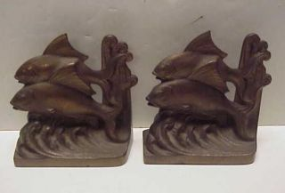 RARE Antique 1925 Hubley Two Fish Art Deco Cast Iron Bookends