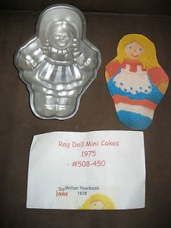 Vintage Wilton RAG DOLL MINI Cake Pan with Instructions from 1975