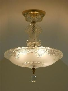 30s Art Deco Vintage Antique Ceiling Light Fixture Chandelier Shade