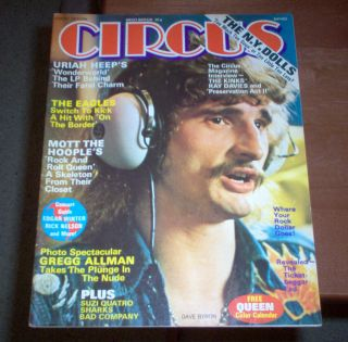 Circus Magazine 1974 The Kinks New York Dolls Mott The Hoople Suzi