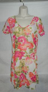 TOMMY BAHAMA T SHIRT DRESS SWIM COVER UP MULTI COLOR WOMENS LARGE NWT