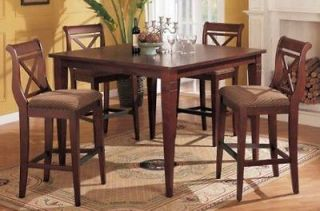 Pc Dark Cherry Bar Table Set with Leaf and X Back Chairs