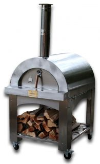Wood Fire Wood Fired Pizza Oven Stainless + Brick