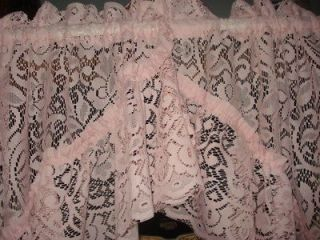 VINTAGE PINK FLORAL LACE NET RUFFLE CURTAINS 2 PANELS