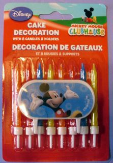 MICKEY MOUSE CLUBHOUSE 8 BIRTHDAY CANDLES W CAKE DECORATION   NIP
