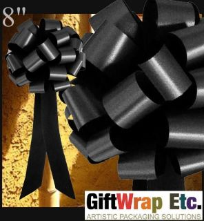 10 BLACK PULL BOWS GIFT PEW TABLE CHAIR WREATH DECORATIONS WEDDING