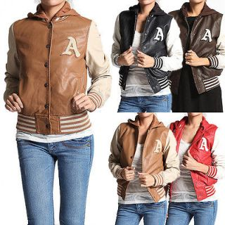 LEATHER HOODED JACKET Varsity Baseball Contrast Sleeve Button Bomber