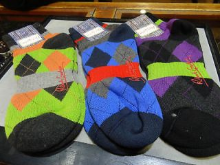 ROBERT GRAHAM FOOTIE ARGYLE SOCKS LIME ORANGE,BLUE GRAY RED OR BLACK