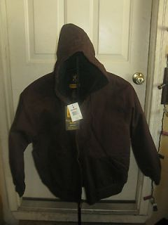 Browning Mens Hooded Canvas Jacket Coat Large Brown Hunting Shooting