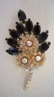 VINTAGE ESTATE ONYX JET BLACK RHINESTONE LEAF BROOCH PIN
