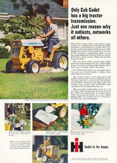 1969 Cub Cadet color Compact Tractor   Classic Vintage Advertisement