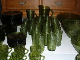 Vintage GREEN Glass ART DECO Anchor Hocking SORENO 97 pc set Pitchers