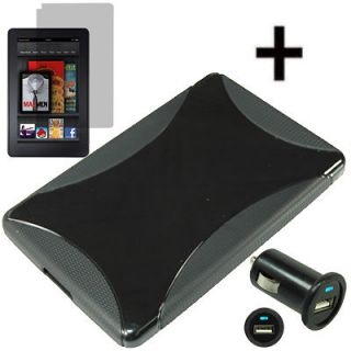 Black Gel Skin Cover Case For  Kindle Fire +LCD +USB Car Charger