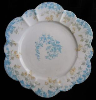 c1893 WILEMAN Foley Fine China Plate #5045 3 Color IVY on EMPIRE 7 1/4