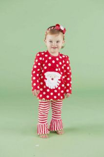 Mud Pie Christmas Baby Infant Girls Santa Tunic & Striped Leggings 0M