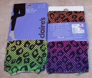 NWT Size S/M CLAIRES Rainbow Netted Fish Net Leopard Print Footless