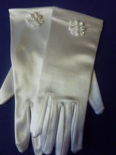 White Satin First Holy Communion Gloves, Choice of 25 Decorations