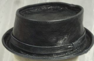 Jill Corbett Pork pie hat battered black leather initialled lining S