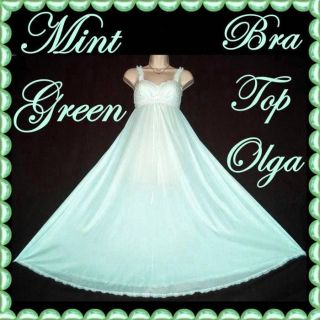 Vintage MINT GREEN Olga FULL SWEEP Formfit Lace Bra Top Sexy Retro