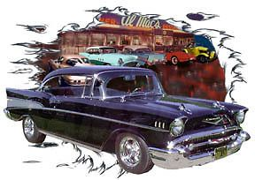 Chevy Bel Air a Custom Hot Rod Diner T Shirt 57, Muscle Car Tees