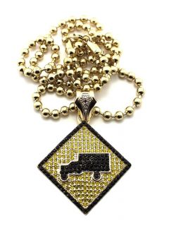 ICED OUT LIL WAYNE TRUKFIT HIP HOP PENDANT 6mm/36 BALL CHAIN NECKLACE
