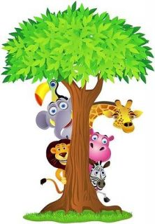 Choose Size   SAFARI ANIMALS TREE Decal Removable WALL STICKER Decor