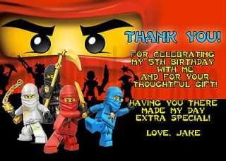Ninjago Personalized Birthday Thank You Card Digital File, You Print