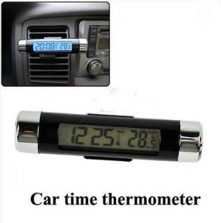 Car Dash Air Vent Mount Digital LCD Clock Thermometer Blue Backlight