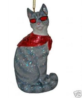 December Diamond Halloween Gray Tabby Cool Cat Ornament