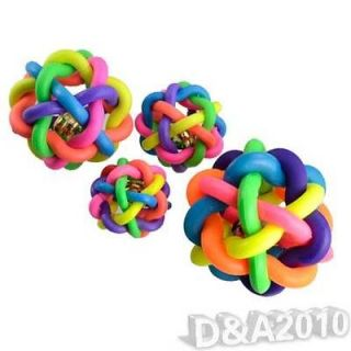 Rainbow Color Rubber Bell Ball Pet Dog Toy Sound Ball Chew Toy Play