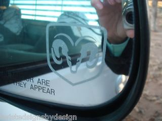 DODGE RAM ETCHED GLASS MIRROR DECALS   SET OF TWO   NEW