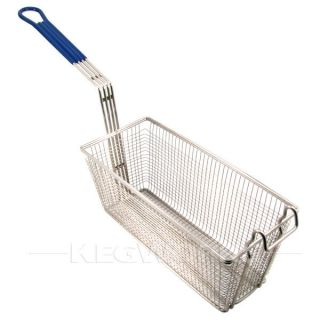 Deep Fryer Basket   Medium   Blue Handle   Frying Chicken Wings
