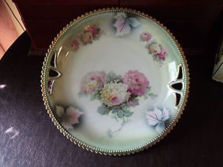 SILESIA PK CHINA , DECORATIVE PLATE, FLOWER PATTERN, GOLD LEAF, 10