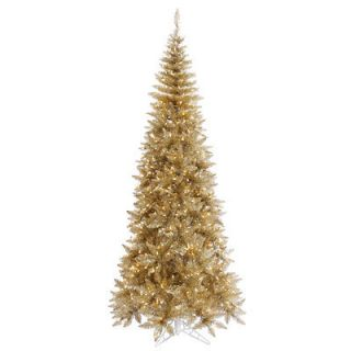 FT GORGEOUS CHAMPAGNE GOLD FIR TREE ~CLEAR LIGHTS ~SLIM PRELIT