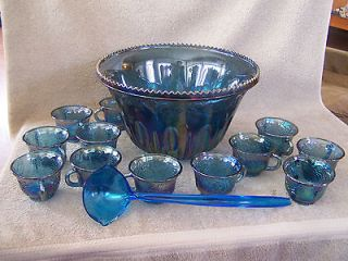 Indiana Blue Carnival Glass Princess Punch Set