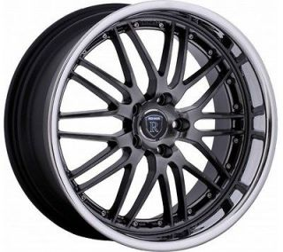 19 inch Staggered Rohana RL06 hyper black wheel rim 5x4.5 5x114.3 +15